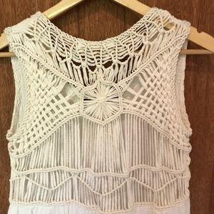 ZARA White Braided Cotton High-Low Dress